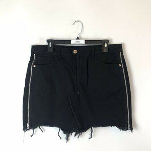 DEX Denim Skirt Size 30 Black Cutoff Frayed Hem